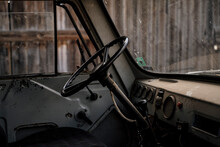 Closeup Of Old Steering Wheel On A Truck