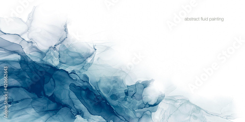 Papel de parede Abstract liquid fluid art painting background alcohol ink technique in teal blue green cool tone colors on white text space for banner, background