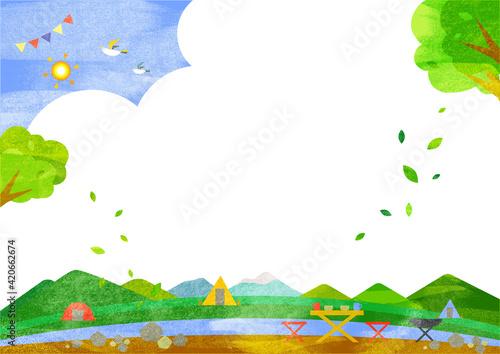 Fototapeta さわやかな夏のキャンプ場の背景素材イラスト 水彩風テクスチャ obraz
