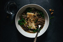 Soba Noodle Soup With Cod Fish And Bok Choy