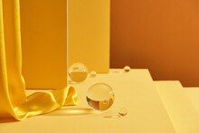 Abstract Platforms With Golden And Curtains. Geometric Figures In Modern Minimal Design