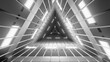 canvas print picture - Digital illustration of a grayscale triangular futuristic hallway with bright lights