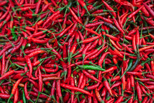 Red Hot Peppers For Sale In A Street Market