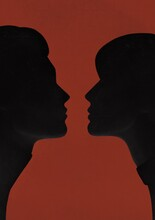 Silhouettes Of Two Lovers On A Red Background
