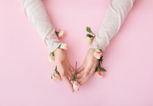 Female Hands With Beautiful Flowers On Color Background