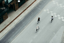 Women Out For A Run On A City Street