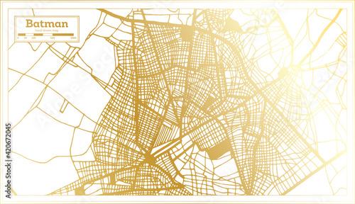 Obraz Batman Turkey City Map in Retro Style in Golden Color. Outline Map. - fototapety do salonu