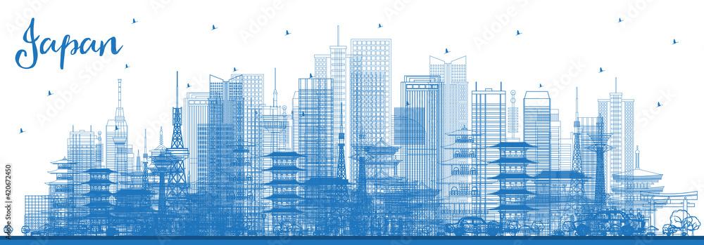 Fototapeta Outline Japan Skyline with Blue Buildings.
