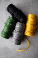 Skeins Of Colored Jute Twine
