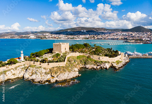Fotografie, Obraz View of Guvercinada or Pigeon Island in the Aegean Sea with the Kusadasi Pirate