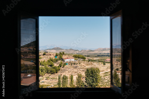 Views of La Rioja countryside from a window
