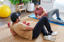 Friends Talking After A Home Workout