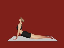 Woman In Yoga Position. Stretching And Relaxation. Concept Of Active And Healthy Lifestyle.
