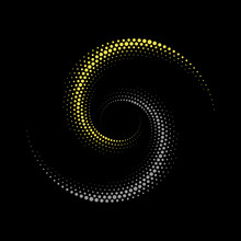 Abstract Dotted Vector Background. Halftone Effect With Trend Colors. Spiral Dotted Background Or Icon In Yin And Yang Style.
