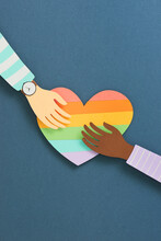 Couple Hands Of Help And Blessing Pray Reach Together On Rainbow Colorful Heart Shape
