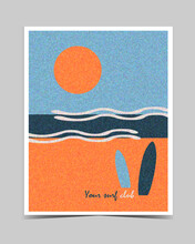 Summer Beach Background With Sun, Sea, Waves, Sky And  Surfboards. Poster, Illustration,  Card, Print, Reklam.