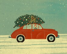 Retro Car With Christmas Tree