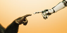 Robot Hand Reaching Out Finger To Touch Hand Of Chimpanzee