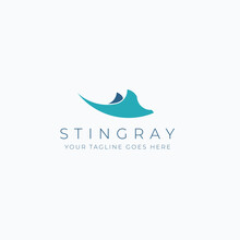 Minimalist Stingray Vector Illustration Logo Design