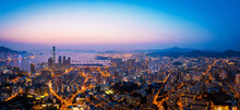 Hong Kong Sunrise Panoramic View From Kowloon