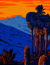 WPA Poster Art Of The Santa Rosa And San Jacinto Mountains National Monument California Showing The Santa Rosa And San Jacinto Mountain Ranges Done In Works Project Administration Style Style.