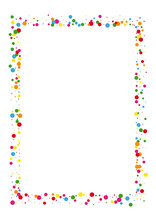 Multicolored Dot Fun Background. Confetti Celebration Texture. Yellow Color Circle. Red Abstract Round Illustration.