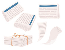 Set Of Pile Newspapers Bound With String Vector Illustration Isolated On White Background