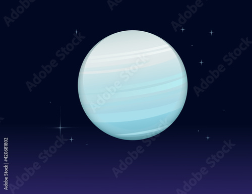 Fototapeta Solar system space object planet Uranus vector illustration on deep sky background obraz
