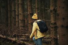 Woman Hiking Through A Dense Forest