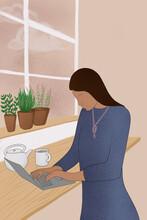 Remote Businesswoman Illustration