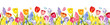 Watercolor seamless border with spring flowers: tulips, hyacinths, mimosa, crocuses, muscari, greenery, butterflies. Vintage flowers. Botanical hand drawn illustration. Garden summer flowers