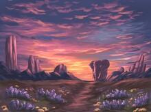 Pink Sunset In The Savanna