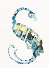 Watercolour Painting In A Swirl Or S Shape