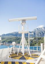 A Radar Mast On A Large Cargo Ship.