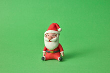 Handmade Figure Of Santa Claus From Color Plasticine.