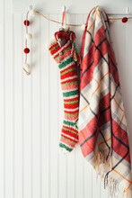 Stripe Christmas Stocking And Ornaments On Hooks