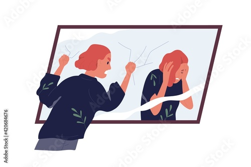 Obraz Concept of self-judgment, criticism, and mental problems. Inner critic blaming, shaming, and shouting at mirror reflection. Woman feeling guilty. Colored flat vector illustration isolated on white - fototapety do salonu