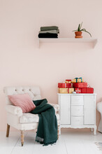 Stylish Room With Stack Of Gifts