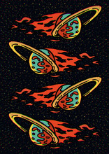 Saturn On Fire Flying In The Universe