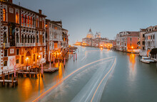 View Of Santa Maria Della Salute Church On Sunset. Venice, Italy
