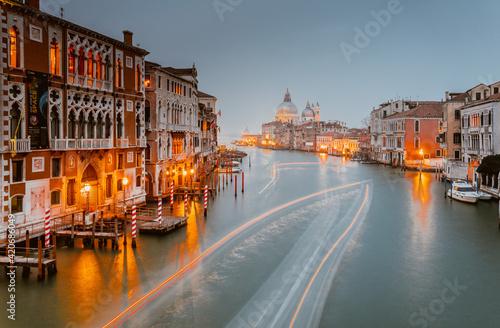 view of Santa Maria della Salute church on sunset. Venice, Italy Fototapet