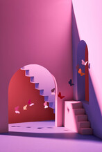 Scene With Geometrical Forms With Butterflies On Minimal Background