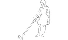 Woman Is Cleaning The House. Cleaning And Cleanliness, Vacuum Cleaner. One Continuous Drawing Line  Logo Single Hand Drawn Art Doodle Isolated Minimal Illustration.