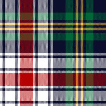 Christmas Tartan Plaid Pattern Texture In Navy Blue, Red, Green, Yellow, White. Multicolored Seamless Herringbone Check For Blanket, Flannel Shirt, Tablecloth, Other Winter Holiday Textile Print.