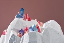 Winter Village Houses Mountains Hills Landscape Background