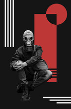Poster With A Man In Gas Mask