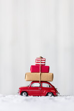 Toy Car With Stack Of Christmas Gifts