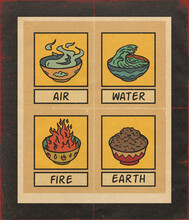The Four Alchemy Elements Of Life Pattern Illustration