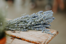 Lavender On A Rustic Bench