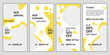 Set of social media templates design backgrounds for ig stories fashion sale promotion. Mockup for personal blog, shop or user story. Vector layout mega big sale in yellow and white color